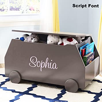 Personalized Modern Essentials Toy Box With Book Storage (Classic Grey)