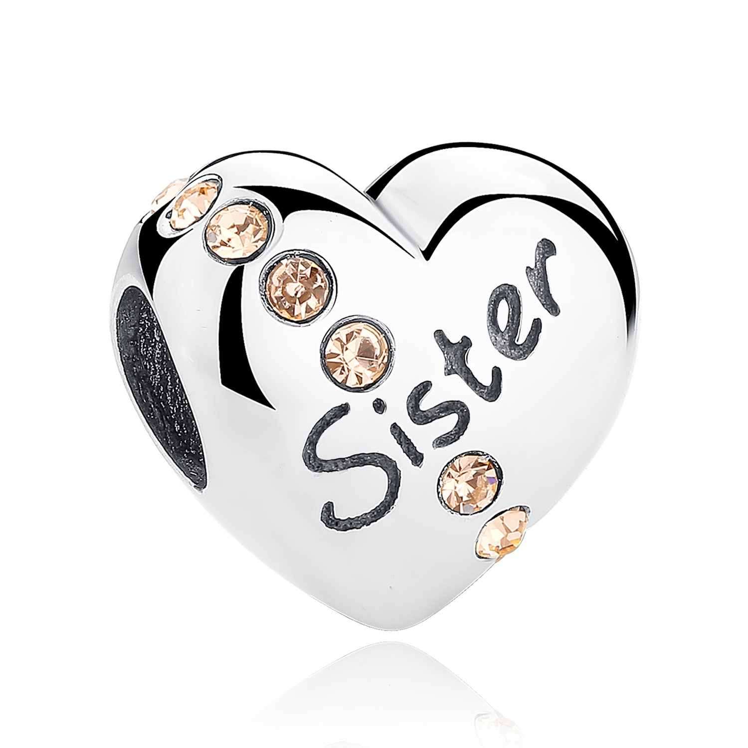XingYue Jewelry Sterling Silver Love Sister Charms Heart Shaped with 3A Zircon Birthstone Charms Fit Snake Chain Bracelet