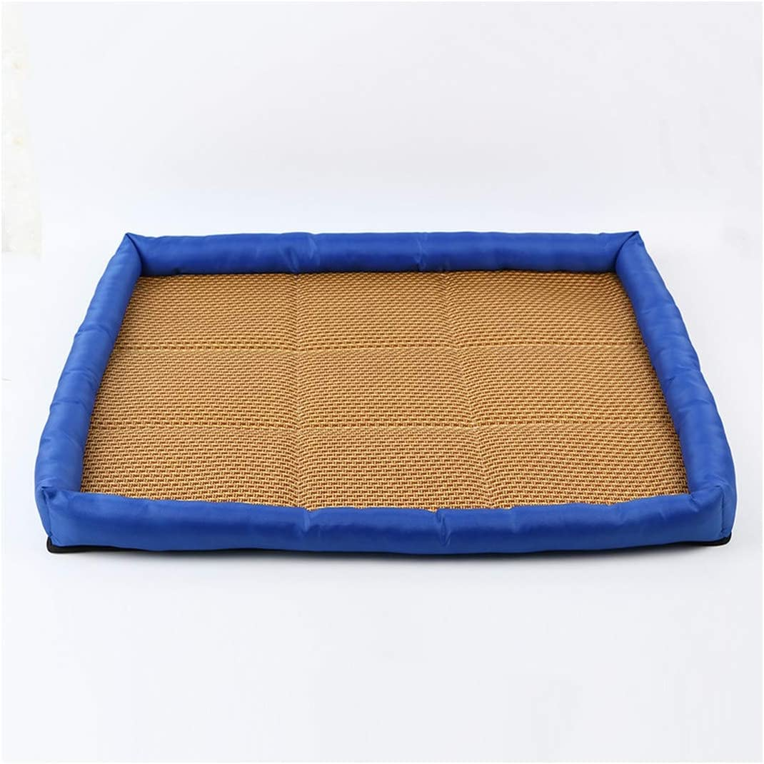 Summer Pet Mat Kennel Cooling Dog Mattress Rattan Breathable Mat Pet Bed Pet Sleeping Resting Comfortable Dog Accessories,Blue,S