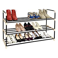 Deals on Herron Metal Tower Durable and Stable 3 Tier Shoe Rack