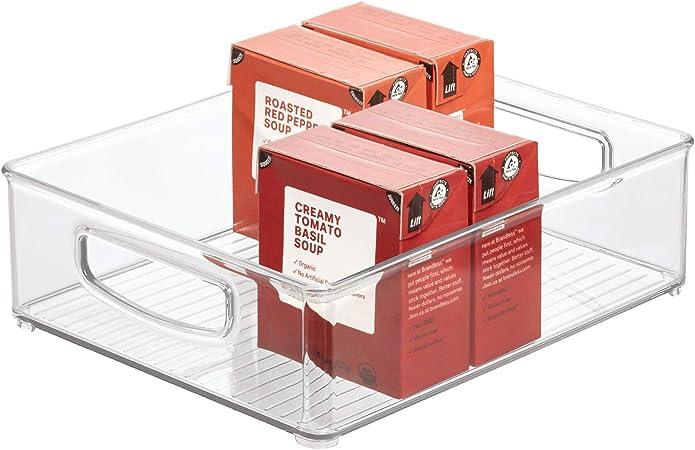iDesign Caja transparente para el frigorífico, organizador de cocina grande de plástico, organizador de nevera con asas y sin tapa, transparente: Amazon.es: Hogar