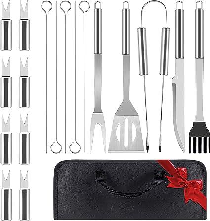 Set de 30 utensilios para la barbacoa set de accesorios para la barbacoa de acero inoxidable con bolsa de transporte utensilios completos para la barbacoa de exterior//interior