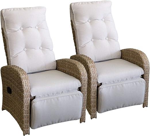 2 x Silla de ratán Polirratán Jardín Ratán – Sillón de relax Sillón relajante con reposapiés ajustable Natural + – Fregadero Gris de muebles muebles de terraza balcón Muebles Muebles de Jardín: Amazon.es: Jardín