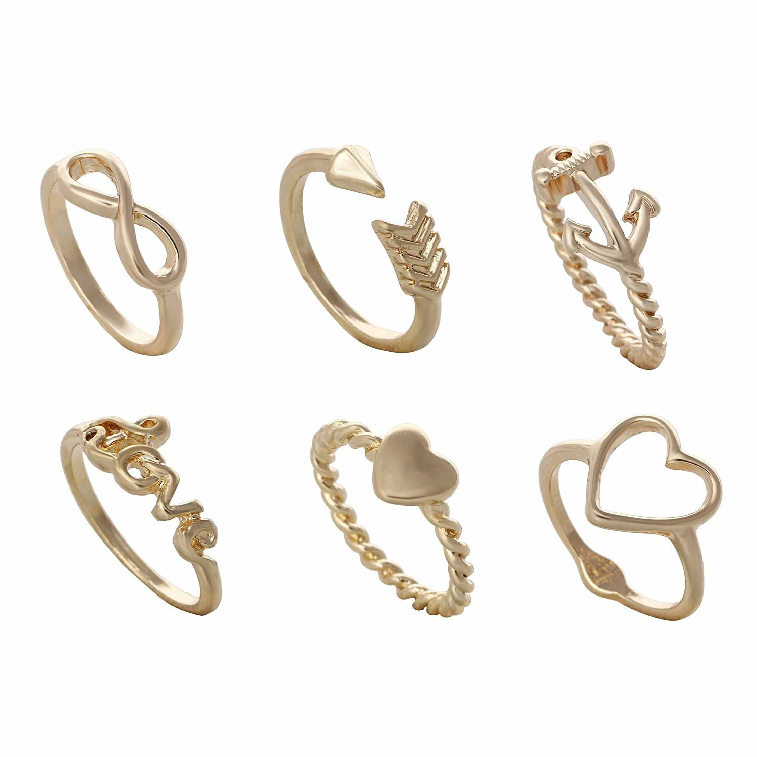 Buy Aaishwarya Cool Stack of Midi Rings Set (Pack of 6) For Women ...