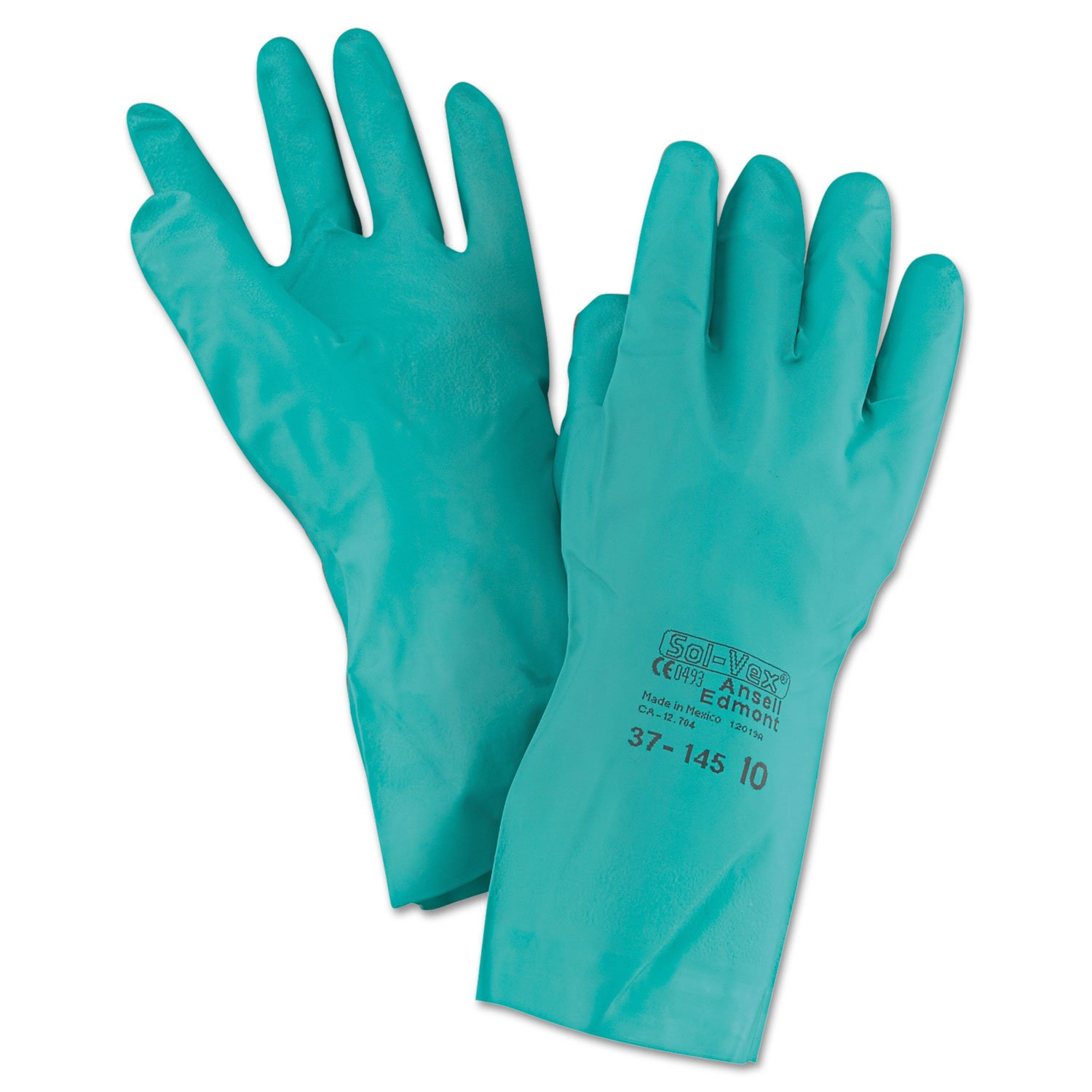 Pack Of 5 Ansell 37-675 Solvex Green Gauntlets Size 8