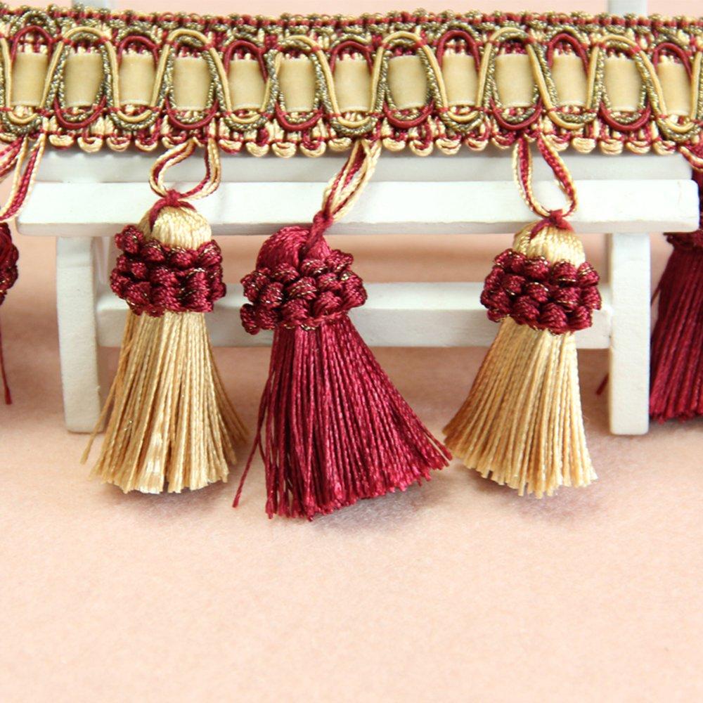 MINO 1202 3.1 X13.6YD Whole sale Ten Colors Handmade Beaded Tassel Fringe Trimming For Crutain Fringe Ball 40 Lines Per meter