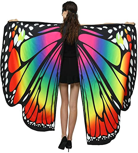 US Women Soft Fabric Butterfly Wings Shawl Fairy Ladies Pixie Costume Accessory
