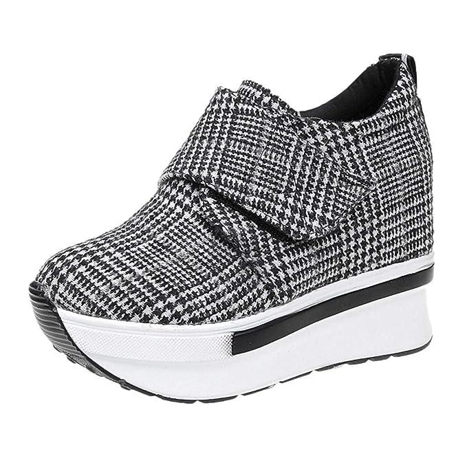 Dragon868 Scarpe Donna Tacco Alto Plateau Sneaker Donna Zeppa Interna 5Cm +  Plateau 5Cm Sneaker A 15d32f3b758