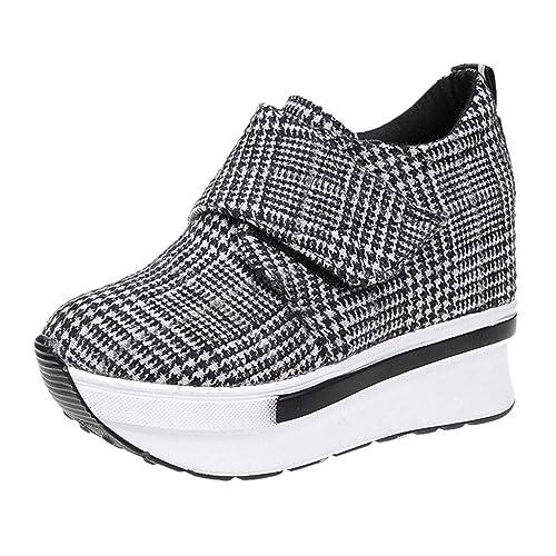 Zapatos Mujer,Moda Mujer Casual Encaje Zapatillas Lona Alto-Top Gruesos Zapatos Deportivos de Fondo Sneakers Plataforma Mujer Zapatos Comodos-La Mejor ...