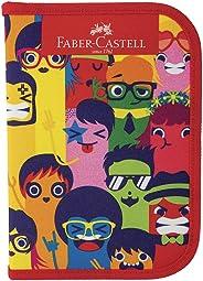 Estojo de Nylon Carinhas com Lápis de Cor 12 Cores, 2 canetas esferográficas, Lápis, Régua, Apontador e Borracha, Faber-Caste