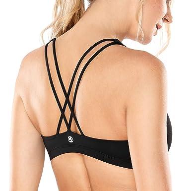 CRZ YOGA Damen Yoga Sport BH - Gekreuzte Rücken,Abnehmbare Padded