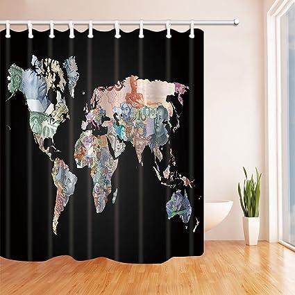 Amazon Com Hisoho Creative Map Bath Curtain World Map With Money