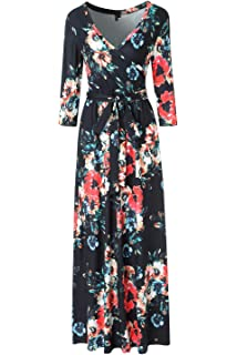 94c7492b86 Zattcas Womens 3/4 Sleeve Floral Print Faux Wrap Long Maxi Dress with Belt