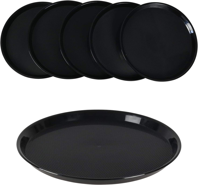 Neadas Plastic Round Food Serving Tray Platters, Black, 6 Packs