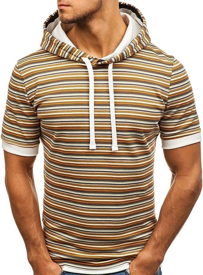 Solid Zipper Sleeveless Pockets Drawstring Summer Casual Henley Cami Shirts KASAAS Mens Hoodie Tank Tops Plus Size