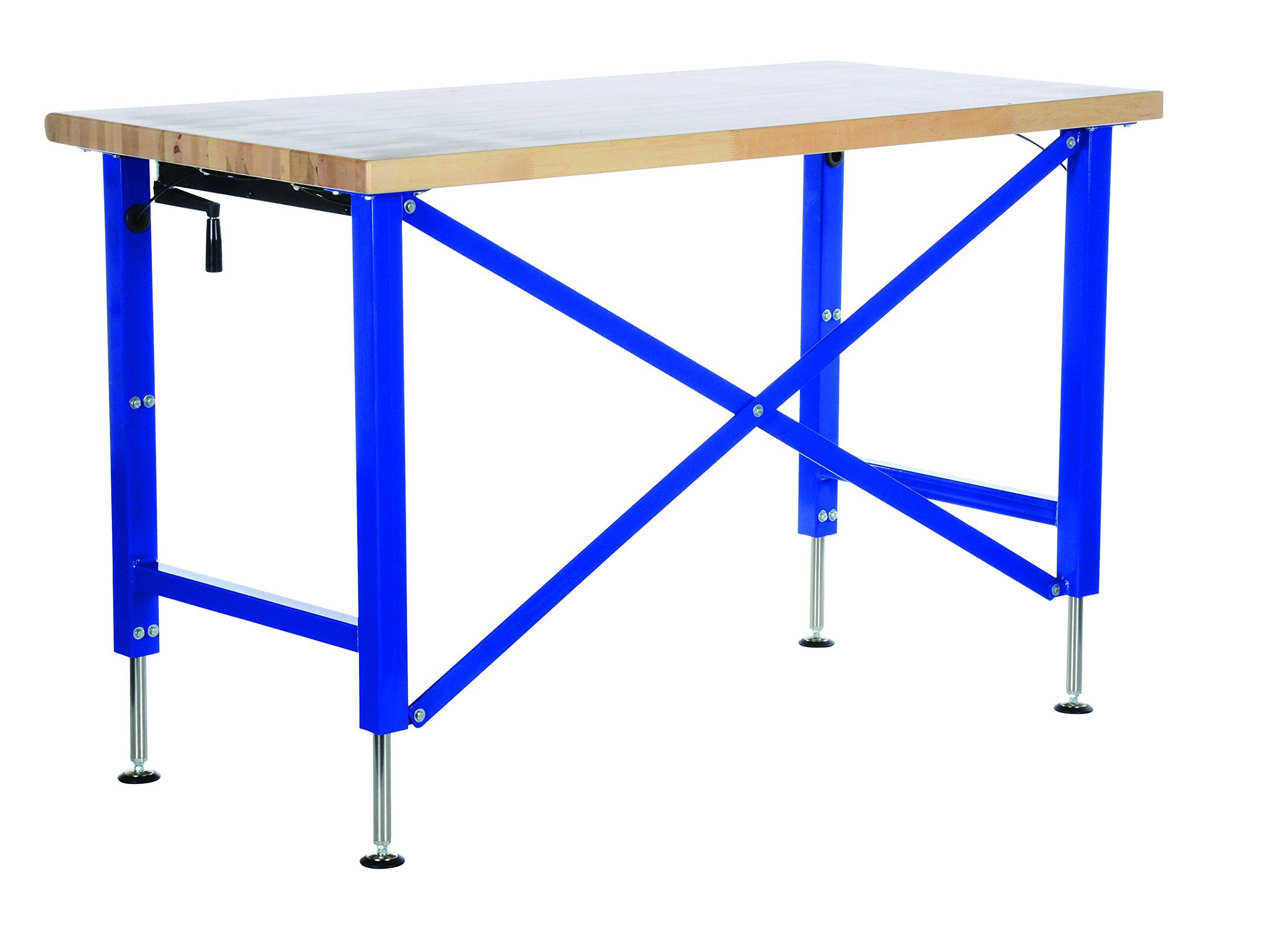 Vestil EWB-6030 Manually Adjustable Ergonomic Work Bench, 60'' x 30'', Blue/Tan by Vestil