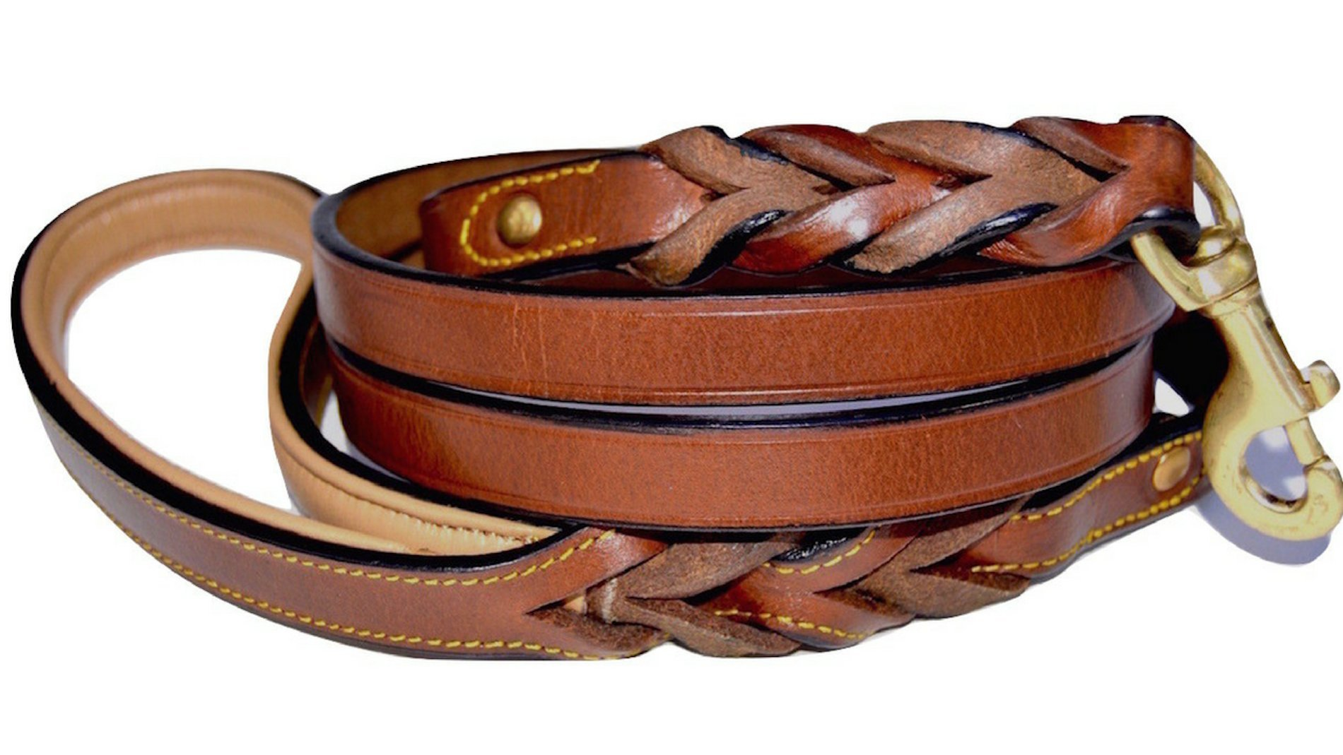 Soft Touch Collars Leather Braided Dog Leash, Brown 6ft x 3/4 Inch , Naturally Tanned 6 Foot Full Grain Leather Lead