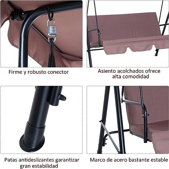 Outsunny Columpio de Jardín de Metal con Parasol Balancín de 3 Asientos con Cojín y Techo Ajustable (Marrón)