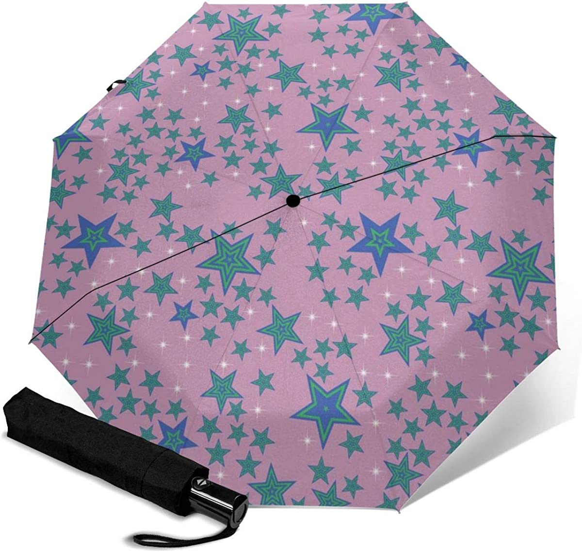 Seamless Stars Pattern Background Compact Travel Umbrella Windproof Reinforced Canopy 8 Ribs Umbrella Auto Open And Close Button Customized