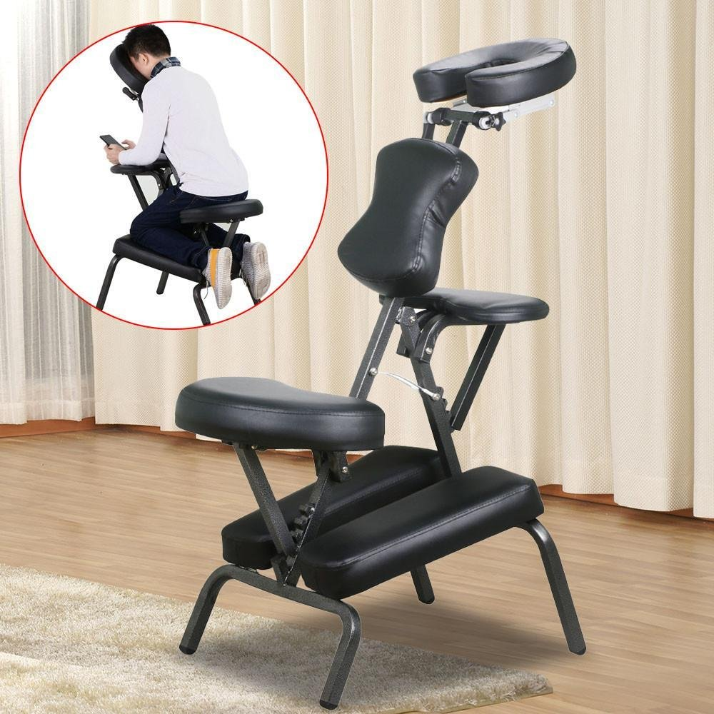 go2buy Portable PU Massage Chair Travel Leather Pad w/Carrying Bag Black