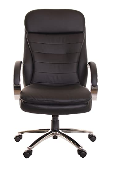Attractive TimeOffice Ergonomic High Back Office Chair With Chrome Base   Black PU  Leather Swivel Executive Chrome