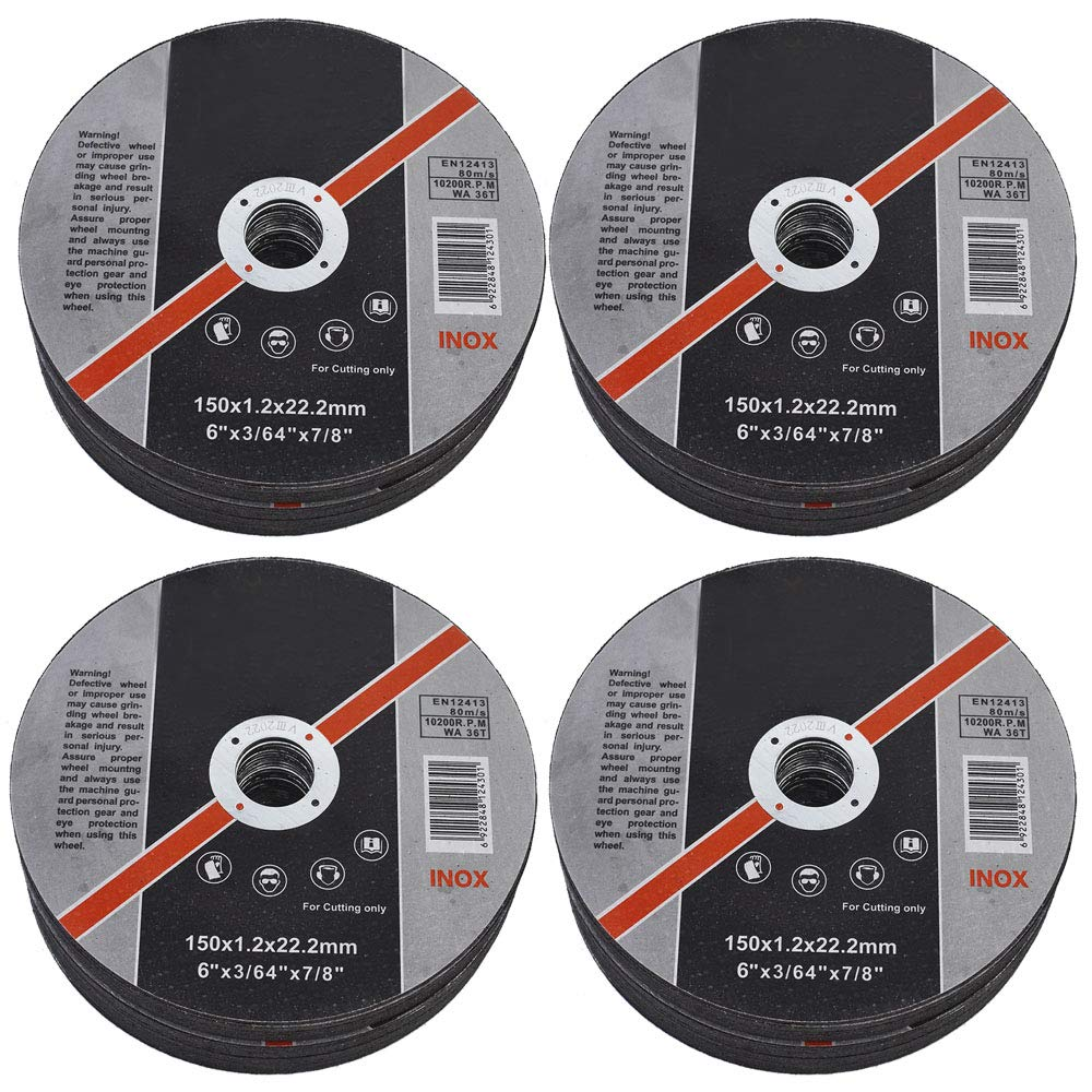 Metal /& Stainless Steel Cutting Discs 100 Pack 6x.045x7//8 Cut-Off Wheel