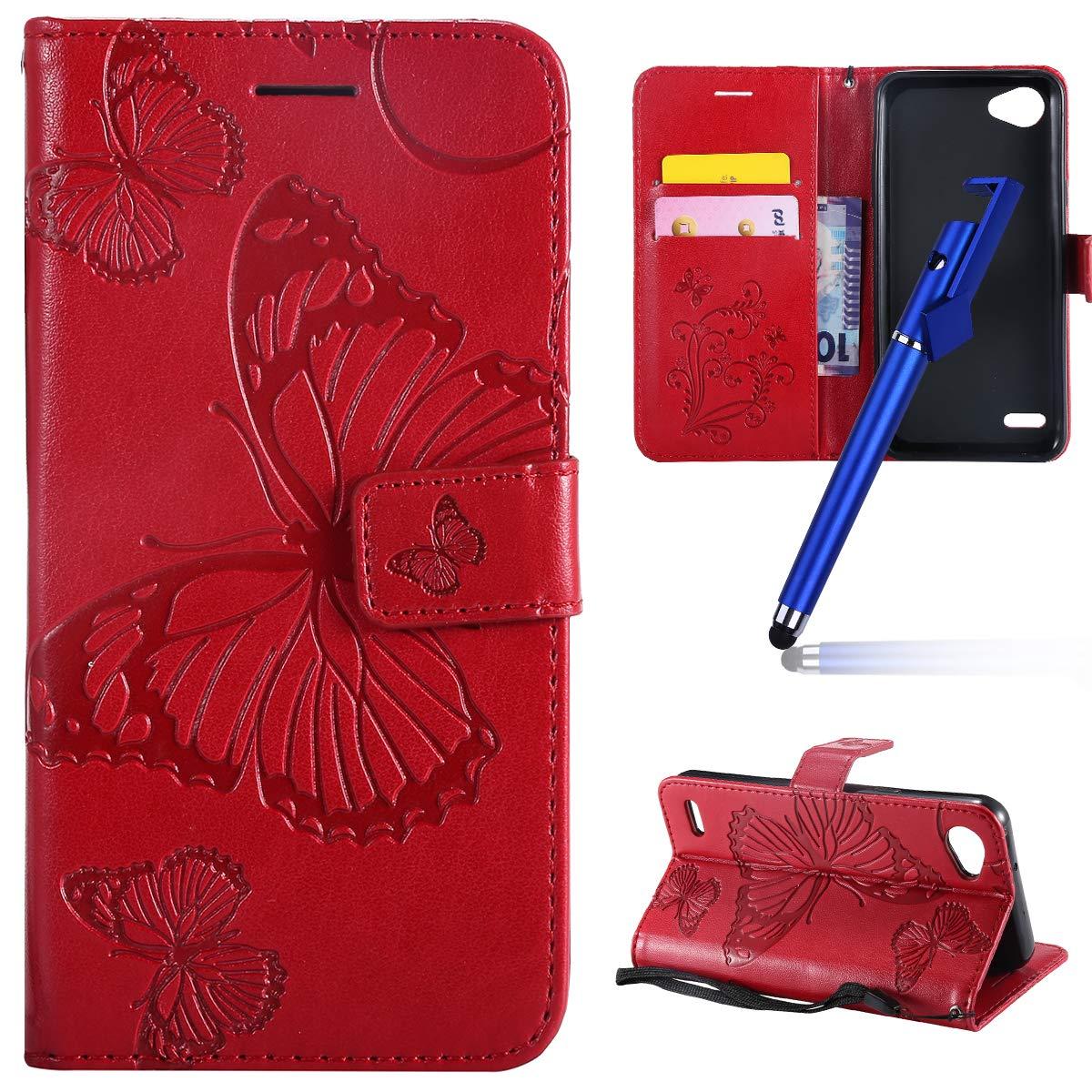 MoreChioce Compatible avec Coque LG Q6 avec Rabat, Retro 3D Pourpre Papillon Relief Portefeuille Flip Case Housse en Cuir Compatible avec LG Q6 Étui de Protection Magnétique avec Support