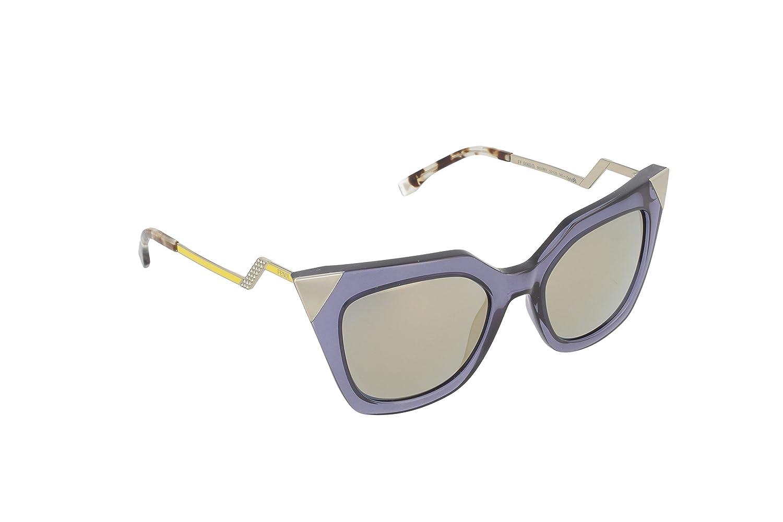 Fendi Occhiali da sole Cateye strutturato in cristallo blu grigio FF 0060/S MSU