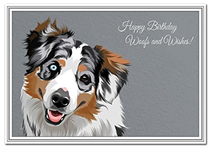 Tarjeta de cumpleaños para perro, retrato único de pastor ...