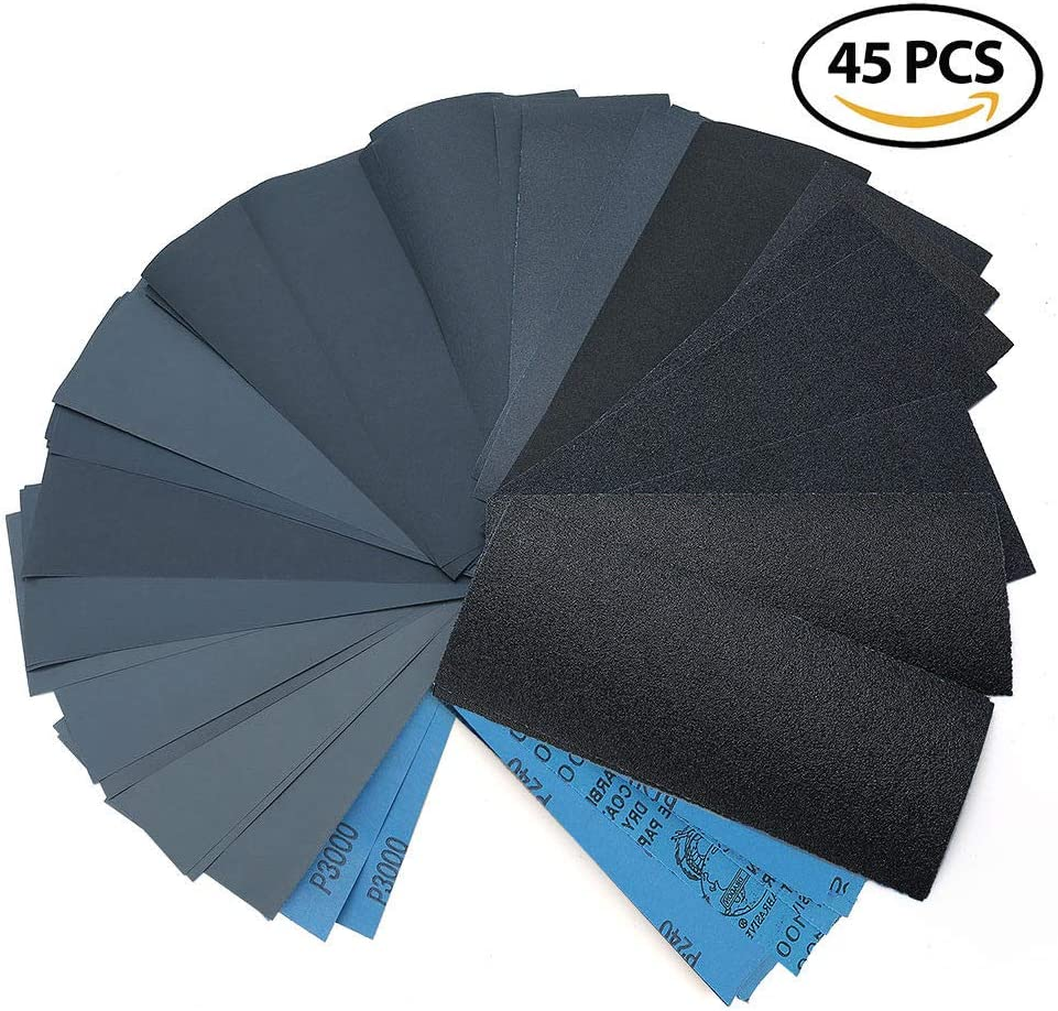 Rantepao Wet Dry Sandpaper 80 Grit Assortment 9x3.6 Abrasive Paper Sheet Sanding 45 pcs