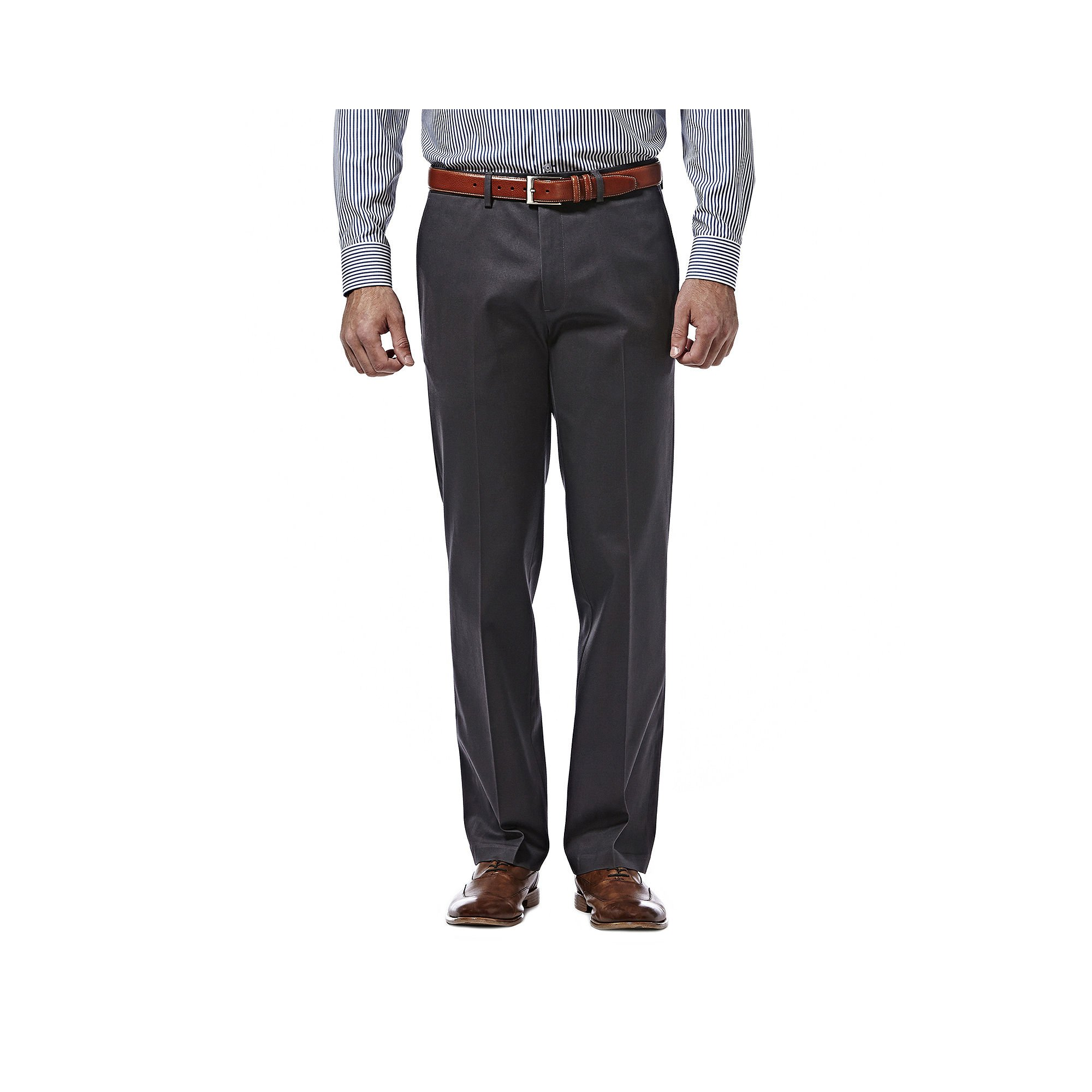 Haggar Premium No Iron Khaki Stretch Straight Fit Flat Front Pant Dark Gray 33x30
