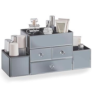 Amazon.com: Beautify Large Mirrored Smoke Gray Jewelry Box ...