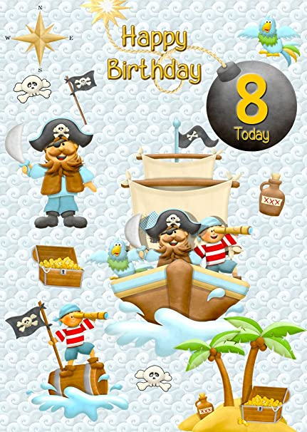 Tarjeta de cumpleaños 8 x 6 cm para niños pirata (mezcla y ...