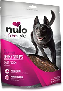 Nulo Freestyle Jerky Dog Treats: Healthy Grain Free Dog Treat - Natural Dog Treats for Training or Reward - Real Meat Jerky Strips for Puppy and Adult Dogs - Beef with Coconut Recipe - 5 oz Bag