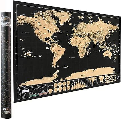 KY-Tech - Póster de mapa del mundo para rascar, tamaño de viaje, con herramientas para rascar, regalo perfecto para viajeros.: Amazon.es: Oficina y papelería