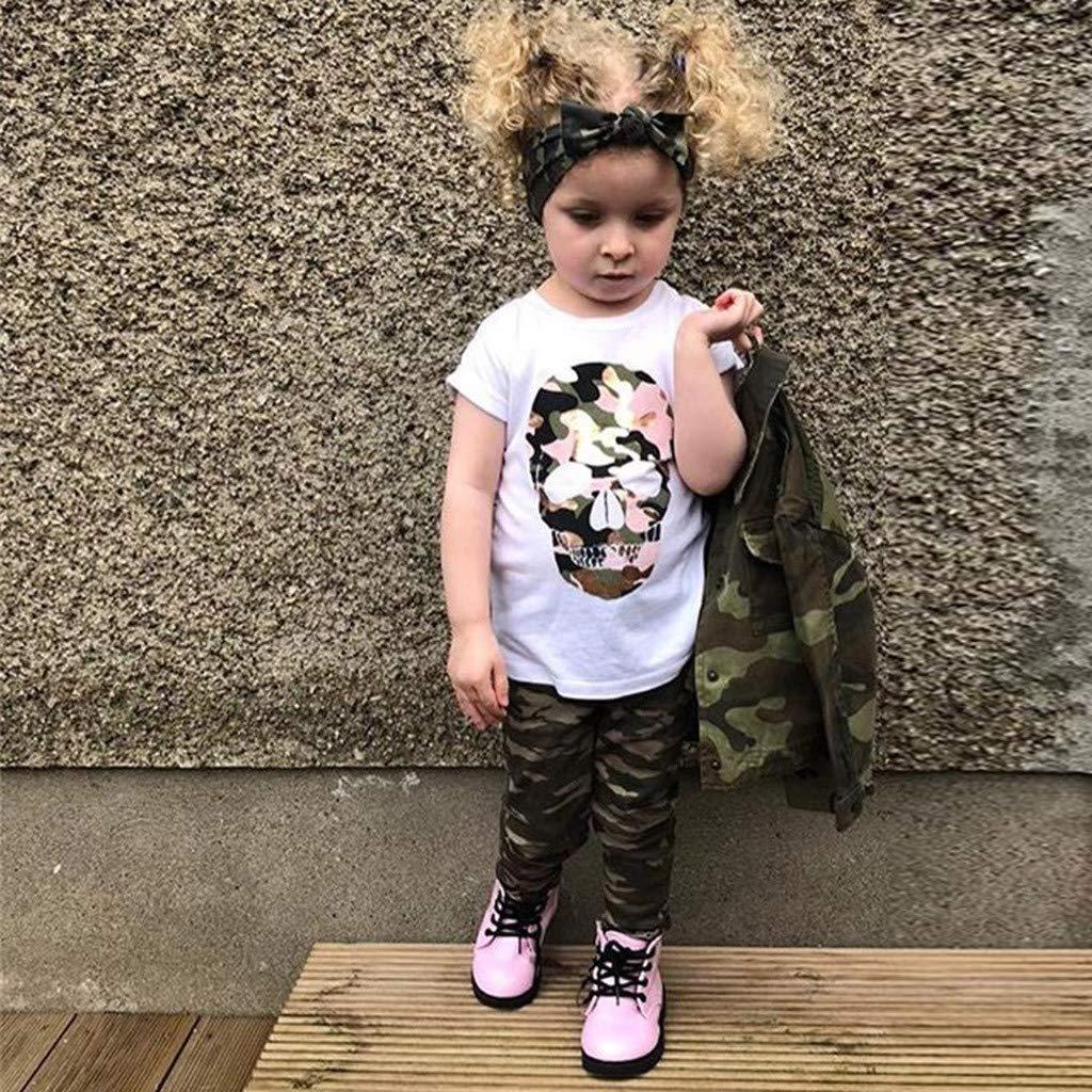 Vetement Bebe Fille Mignon ABsoar Enfant Mouche Manches Tenues Gland Boule de Cheveux Chemise T-Shirt Pantalon imprim/é Ensemble Deux pi/èces pour 2-7ans Fille
