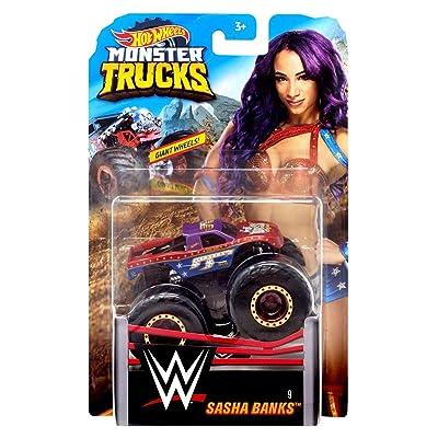 HW Monster Trucks Sasha Banks WWE Die-cast 1/64 Scale Vehicle: Toys & Games
