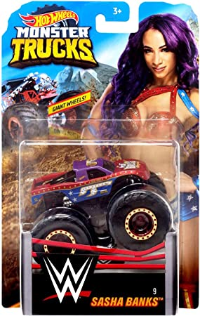 Amazon Com Hw Monster Trucks Sasha Banks Wwe Die Cast 1 64 Scale Vehicle Toys Games