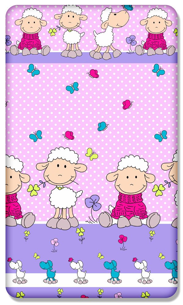 Mouton Rose Drap-housse 100/% coton avec motif imprim/é pour b/éb/é Lit Junior 160/x 70/cm