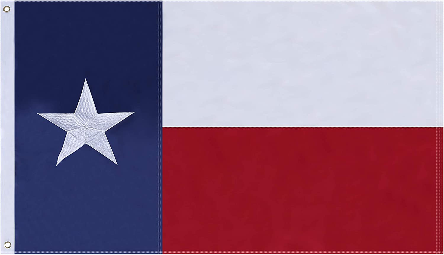 NuLink Texas State Flag 6x10 Ft Embroidered Stars Sewn Stripes Brass Grommets Flag 210D Oxford Nylon for Indoor Outdoor