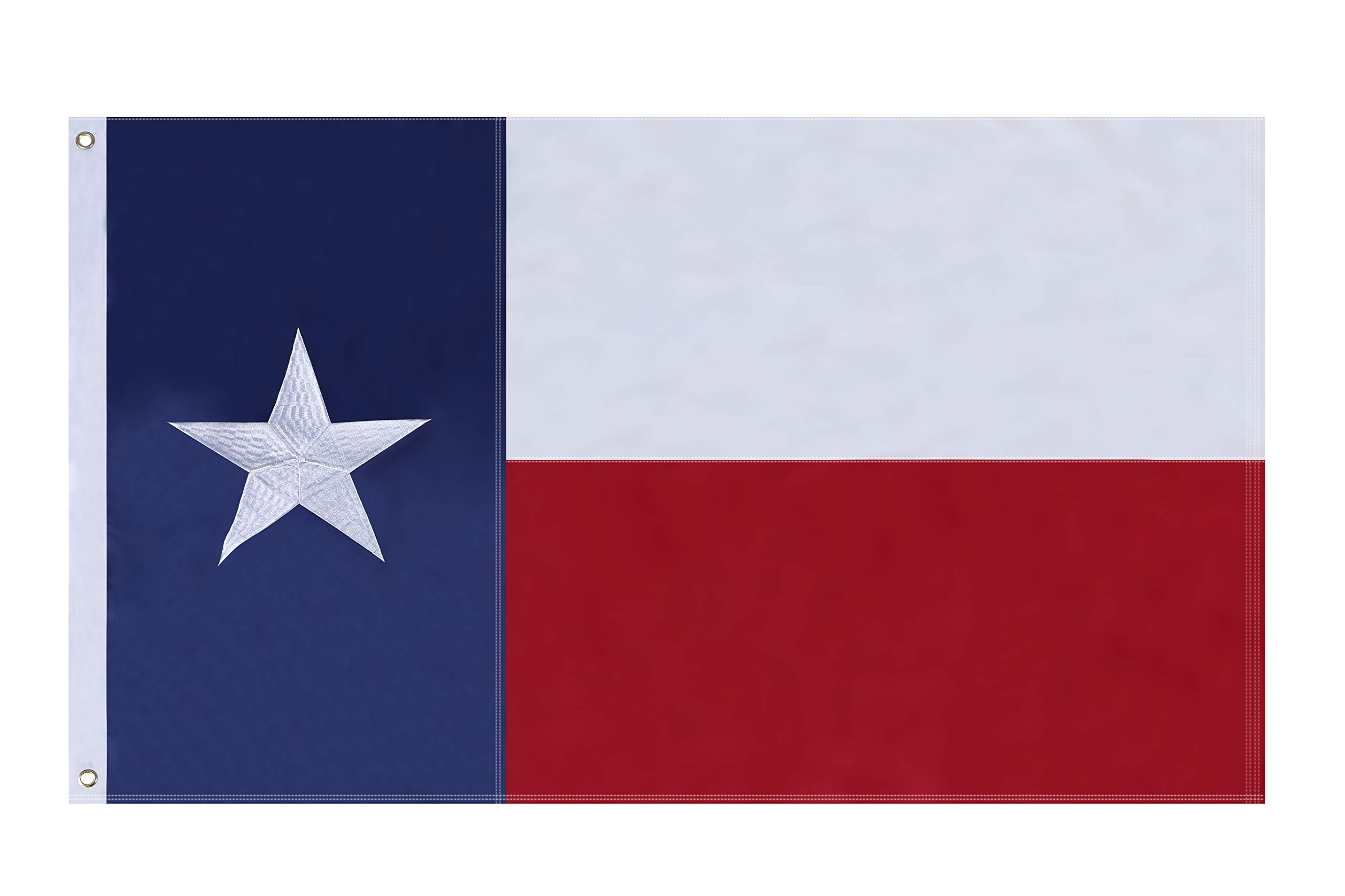 NuLink Texas State Flag 3x5 Ft Embroidered Stars Sewn Stripes Brass Grommets Flag 210D Oxford Nylon for Indoor Outdoor