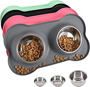 Juqiboom Dog Bowls 2 Stainless Steel Bowl for Pet Water and Food Feeder with Non Spill Skid Resistant Silicone Mat for Pets Puppy Small Medium Cats Dogs