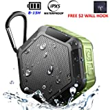 Mini Wireless Bluetooth Speakers,Waterproof 5W Enhanced Bass,1500mA Rechargeable Portable,Built-in MIC Speakerphone,Support TF Card,for iPhone iPad Android,for Shower/Outdoors (Wall Suction Hookx1)