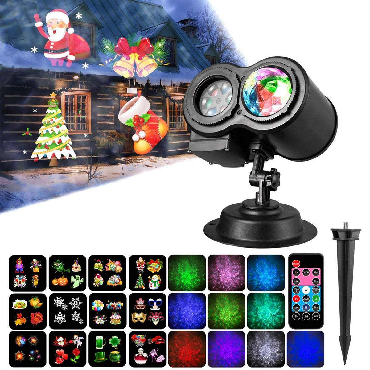 2018 New Version 2-IN-1 Christmas Halloween Projector Lights, Moving Patterns+ Ocean Wave LED Projector Lights with 12 Slides and Remote Controller Indoor Outdoor Holiday Lights for Halloween Xmas Home Birthday Party Garden Landscape Decorations HowiseAcc