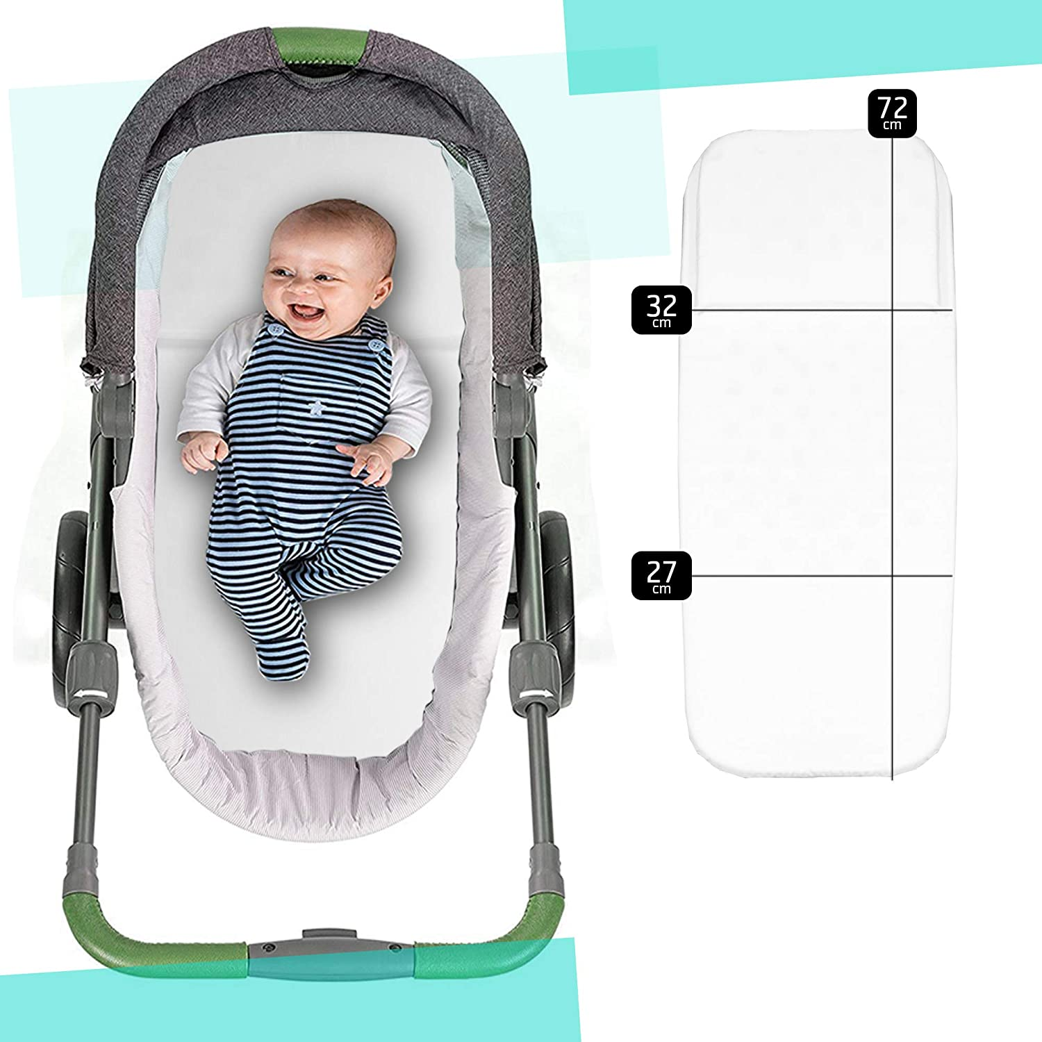 Universal Anti-Suffocation Mattress Made in Italy 72 x 29.5 cm Stroller Trio Baby Cot Cushion Carrycot Mattress Baby Cot Bed Baby Cot Baby Cot