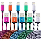 Fwclo 5Pack 3FT Lightning to USB Cable, Premium Nylon Braided Charging Cable Cord Compatible with iPhone 7/7 Plus/6/6s/6 plus/6s plus, iPhone 5/5s/5c,iPad, iPod & More (5 color)