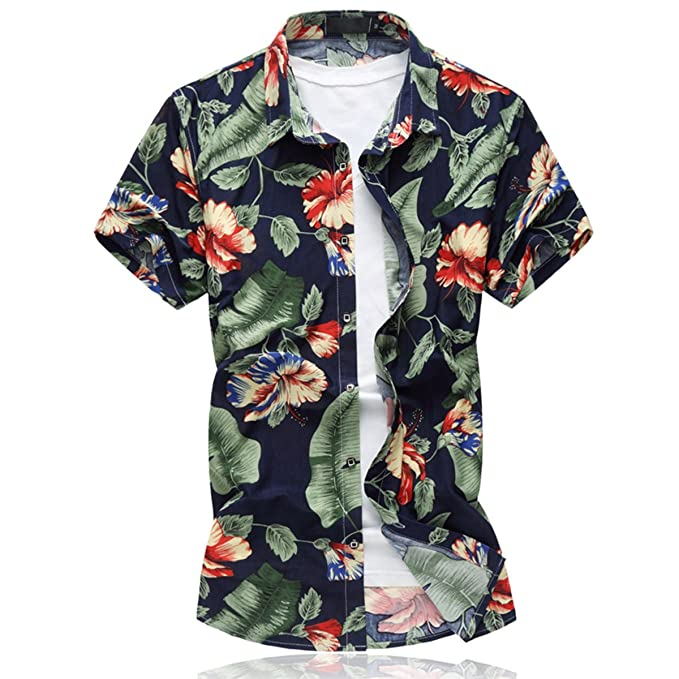 61e61c42 Mirecoo Mens Leisure Floral Prints Shirt Hawaiian Palm Short Sleeve Summer  Beach Shirts: Amazon.co.uk: Clothing
