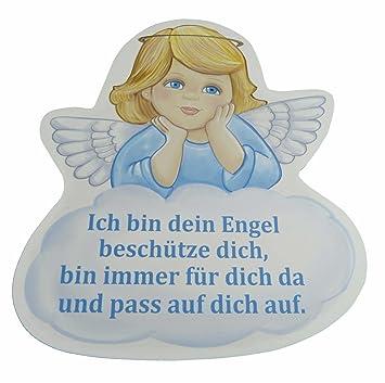 Schutzengel Taufgeschenk für Junge mit Engel in blau und mit Spruch ich  pass auf dich auf - Wandbild als Deko für das Baby- bzw. Kinderzimmer aus  ...