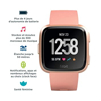 438b3a154 Fitbit Versa Health & Fitness Smartwatch with Heart Rate, 4+ Day Battery &  Water Resistance, Peach/Rose Gold Aluminum: Amazon.ae: Merwstore