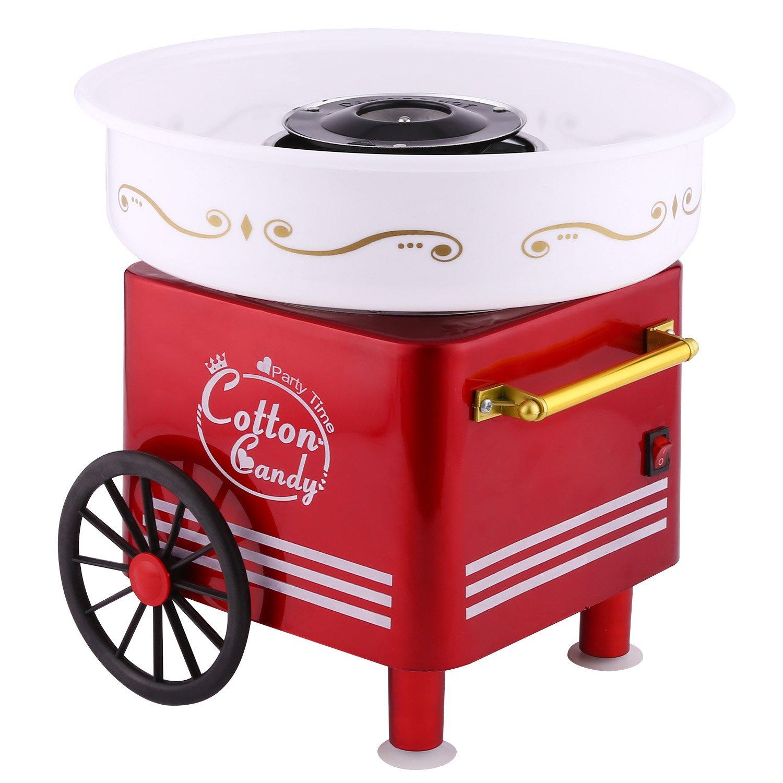 Buyi-World Macchina per Zucchero Filato da Casa Retro Cotton Candy Machine, 500W Usare Zucchero Normale o Caramelle per Festa Party Regalo Compleanni per Bambini (Rosso) BW